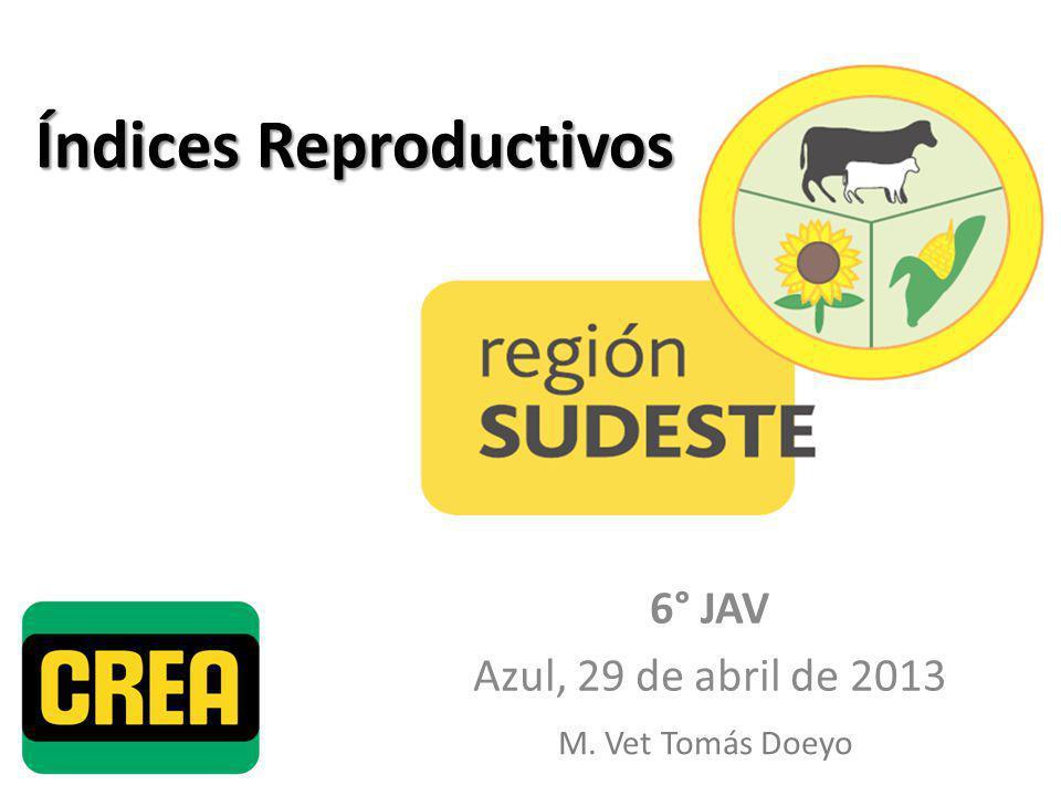 Índices Reproductivos 6° JAV Azul, 29 de abril de 2013 M. Vet Tomás Doeyo