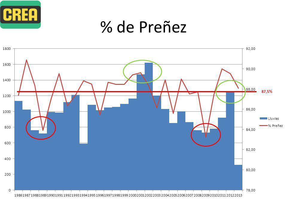 % de Preñez 87,5%