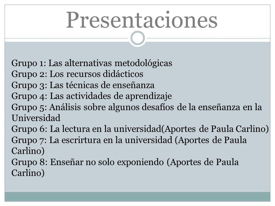 Presentaciones Grupo 1: Las alternativas metodológicas Grupo 2: Los recursos didácticos Grupo 3: Las técnicas de enseñanza Grupo 4: Las actividades de
