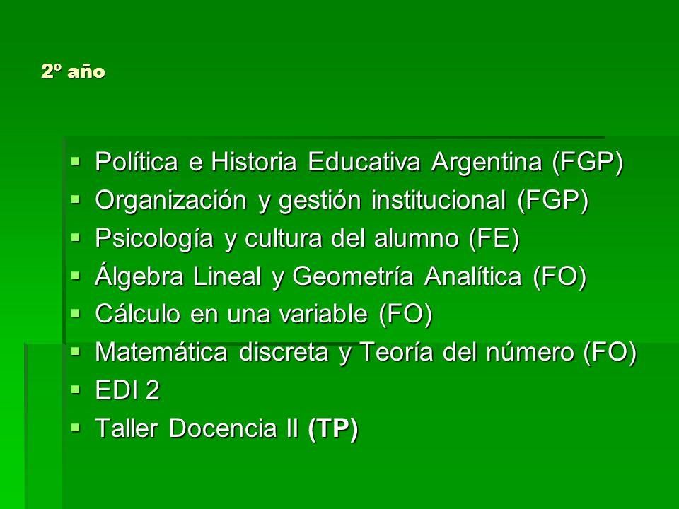 3º año Filosofía (FGP) Filosofía (FGP) Tópicos de Geometría (FO) Tópicos de Geometría (FO) Física (FO) Física (FO) Estadística y Probabilidad (FO) Estadística y Probabilidad (FO) Cálculo en varias variables (FO) Cálculo en varias variables (FO) Didáctica Específica (FGP) Didáctica Específica (FGP) EDI 3 EDI 3 Taller Docencia III (TP) Taller Docencia III (TP)