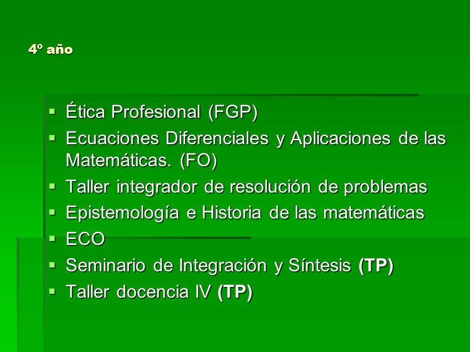PLAN DE ESTUDIOS y RÉGIMEN DE CORRELATIVIDADES PARA RENDIRDEBE TENER APROBADO asignaturas 1ºPedagogía (FGP) Teoría del currículo y Didáctica (FGP) Psicología Educativa (FE) Matemática General (FO) Geometría Euclidiana (FO) Informática y Programación (FO) EDI 1 Taller docencia 1 (TP)
