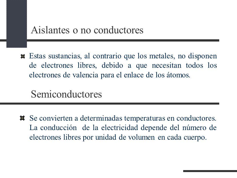 Aislantes o no conductores Estas sustancias, al contrario que los metales, no disponen de electrones libres, debido a que necesitan todos los electrones de valencia para el enlace de los átomos.