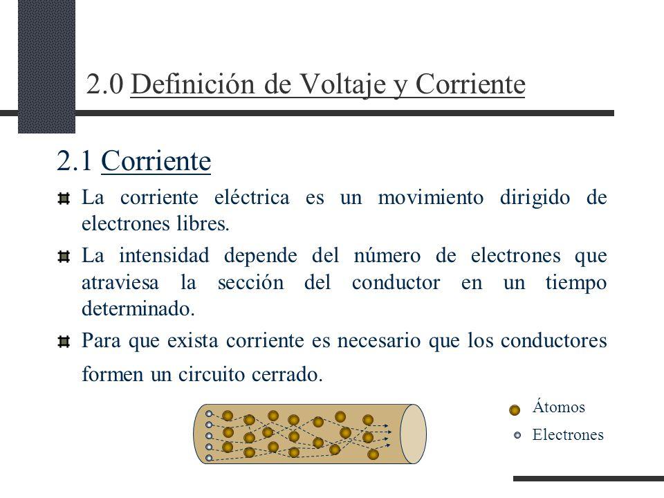 2.0 Definición de Voltaje y Corriente 2.1 Corriente La corriente eléctrica es un movimiento dirigido de electrones libres.