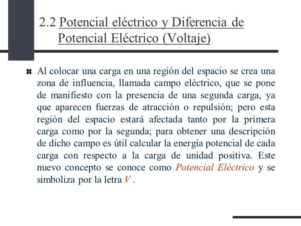 2.2 Potencial eléctrico y Diferencia de Potencial Eléctrico (Voltaje) Al colocar una carga en una región del espacio se crea una zona de influencia, llamada campo eléctrico, que se pone de manifiesto con la presencia de una segunda carga, ya que aparecen fuerzas de atracción o repulsión; pero esta región del espacio estará afectada tanto por la primera carga como por la segunda; para obtener una descripción de dicho campo es útil calcular la energía potencial de cada carga con respecto a la carga de unidad positiva.
