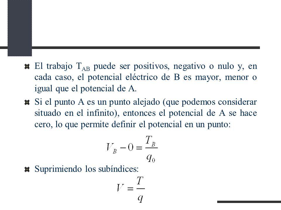 El trabajo T AB puede ser positivos, negativo o nulo y, en cada caso, el potencial eléctrico de B es mayor, menor o igual que el potencial de A.