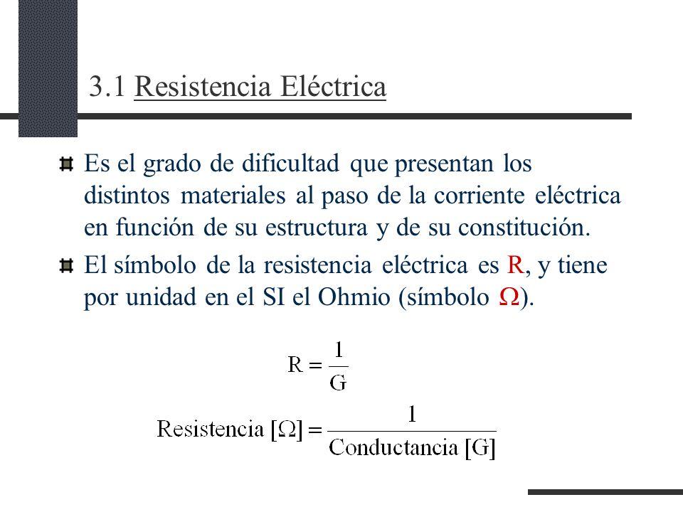 3.1 Resistencia Eléctrica Es el grado de dificultad que presentan los distintos materiales al paso de la corriente eléctrica en función de su estructura y de su constitución.