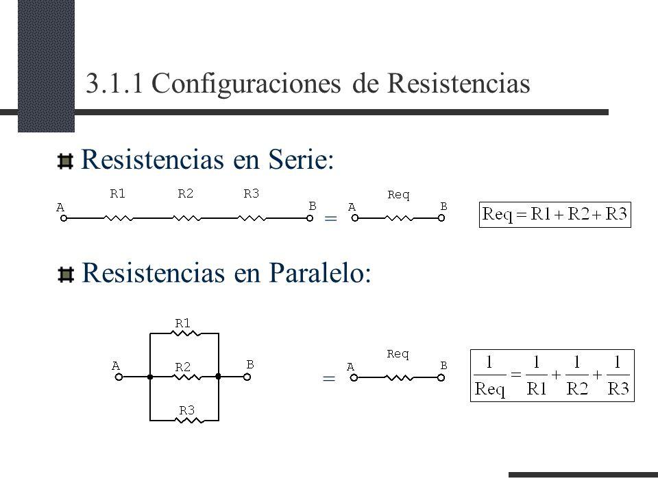 3.1.1 Configuraciones de Resistencias Resistencias en Serie: Resistencias en Paralelo: = =