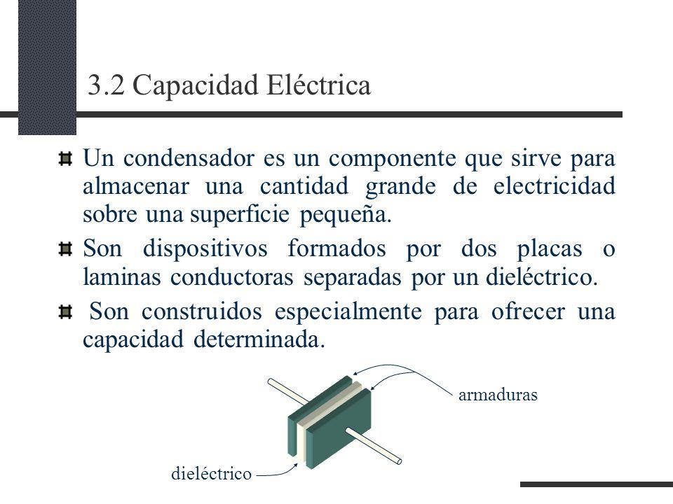 3.2 Capacidad Eléctrica Un condensador es un componente que sirve para almacenar una cantidad grande de electricidad sobre una superficie pequeña.