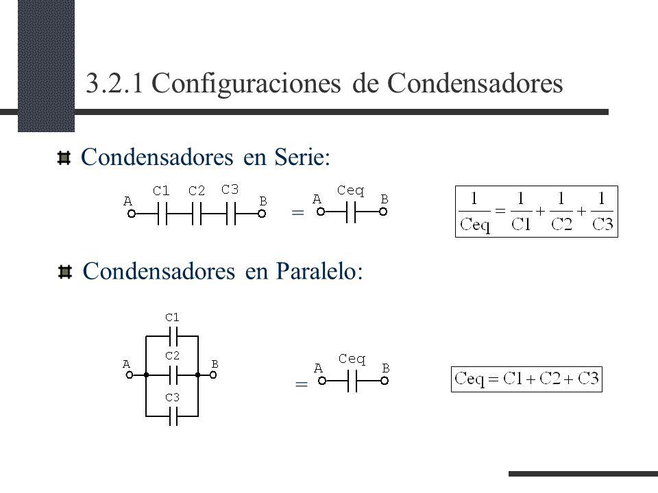 3.2.1 Configuraciones de Condensadores Condensadores en Serie: Condensadores en Paralelo: = =