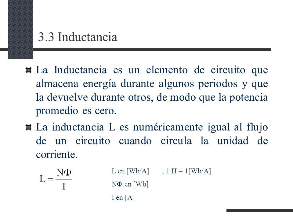 3.3 Inductancia La Inductancia es un elemento de circuito que almacena energía durante algunos periodos y que la devuelve durante otros, de modo que la potencia promedio es cero.