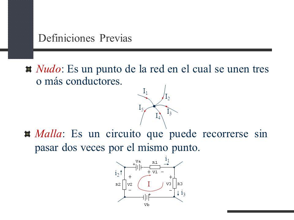 Definiciones Previas Nudo: Es un punto de la red en el cual se unen tres o más conductores.