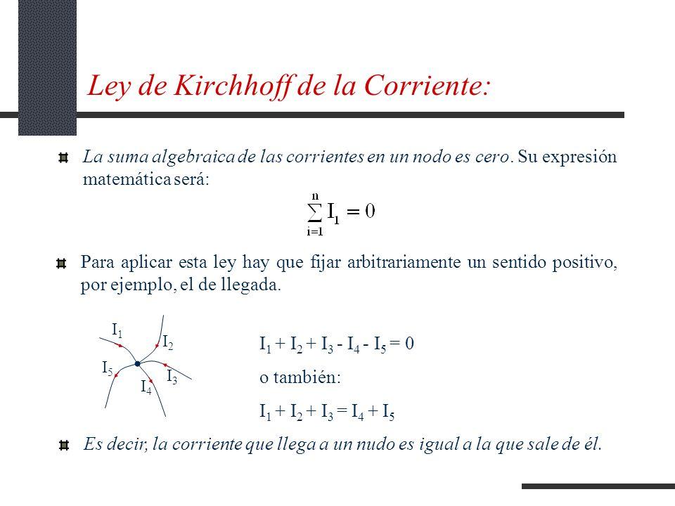 Ley de Kirchhoff de la Corriente: La suma algebraica de las corrientes en un nodo es cero.