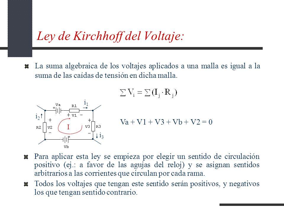 Ley de Kirchhoff del Voltaje: La suma algebraica de los voltajes aplicados a una malla es igual a la suma de las caídas de tensión en dicha malla.