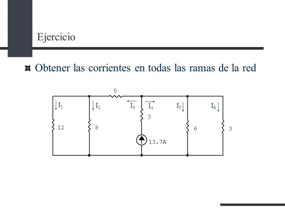 Ejercicio Obtener las corrientes en todas las ramas de la red I1I1 I2I2 I3I3 I4I4 I5I5 I6I6