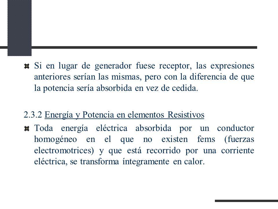 Si en lugar de generador fuese receptor, las expresiones anteriores serían las mismas, pero con la diferencia de que la potencia sería absorbida en vez de cedida.