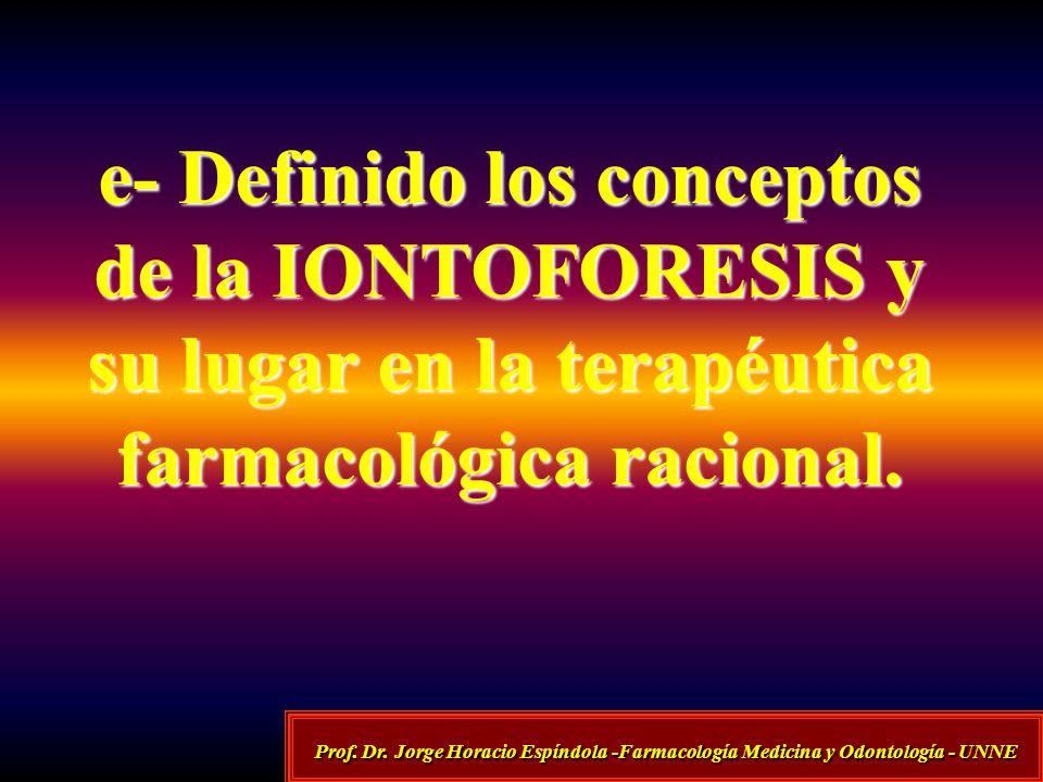 e- Definido los conceptos de la IONTOFORESIS y su lugar en la terapéutica farmacológica racional. Prof. Dr. Jorge Horacio Espíndola -Farmacología Medi
