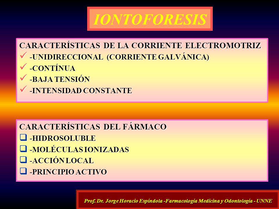 IONTOFORESIS CARACTERÍSTICAS DE LA CORRIENTE ELECTROMOTRIZ -UNIDIRECCIONAL (CORRIENTE GALVÁNICA) -UNIDIRECCIONAL (CORRIENTE GALVÁNICA) -CONTÍNUA -CONT