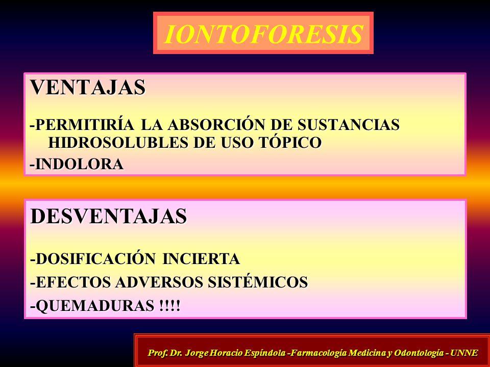 IONTOFORESIS VENTAJAS -PERMITIRÍA LA ABSORCIÓN DE SUSTANCIAS HIDROSOLUBLES DE USO TÓPICO -INDOLORA DESVENTAJAS -DOSIFICACIÓN INCIERTA -EFECTOS ADVERSO