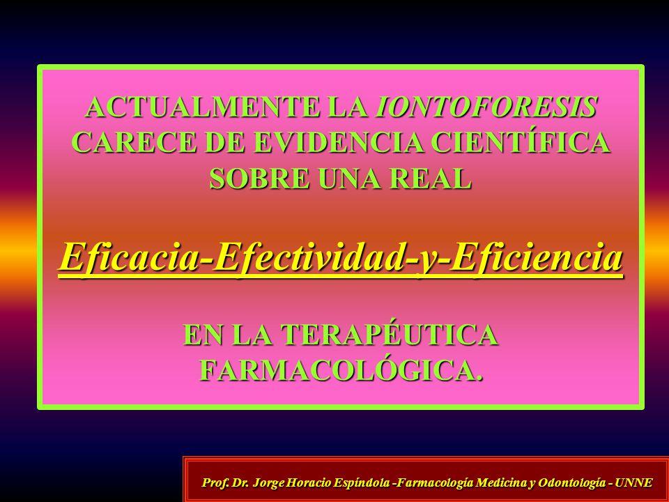 ACTUALMENTE LA IONTOFORESIS CARECE DE EVIDENCIA CIENTÍFICA SOBRE UNA REAL Eficacia-Efectividad-y-Eficiencia EN LA TERAPÉUTICA FARMACOLÓGICA. Prof. Dr.