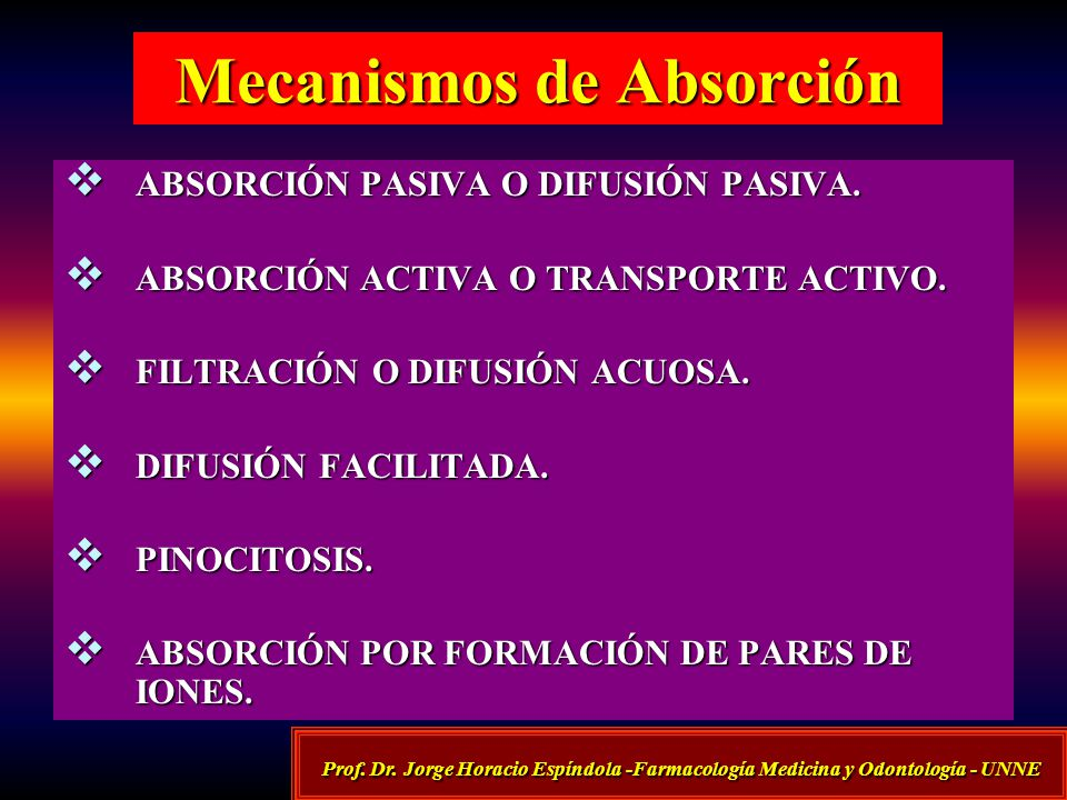Mecanismos de Absorción ABSORCIÓN PASIVA O DIFUSIÓN PASIVA. ABSORCIÓN PASIVA O DIFUSIÓN PASIVA. ABSORCIÓN ACTIVA O TRANSPORTE ACTIVO. ABSORCIÓN ACTIVA