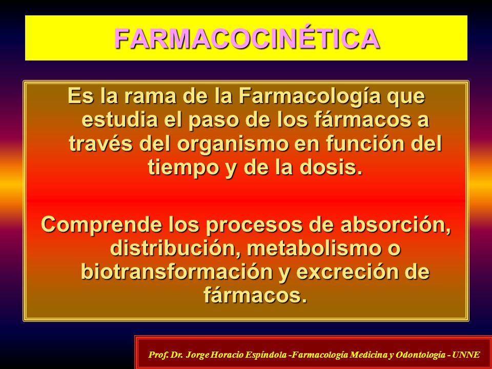 FARMACOCINÉTICA Es la rama de la Farmacología que estudia el paso de los fármacos a través del organismo en función del tiempo y de la dosis. Comprend