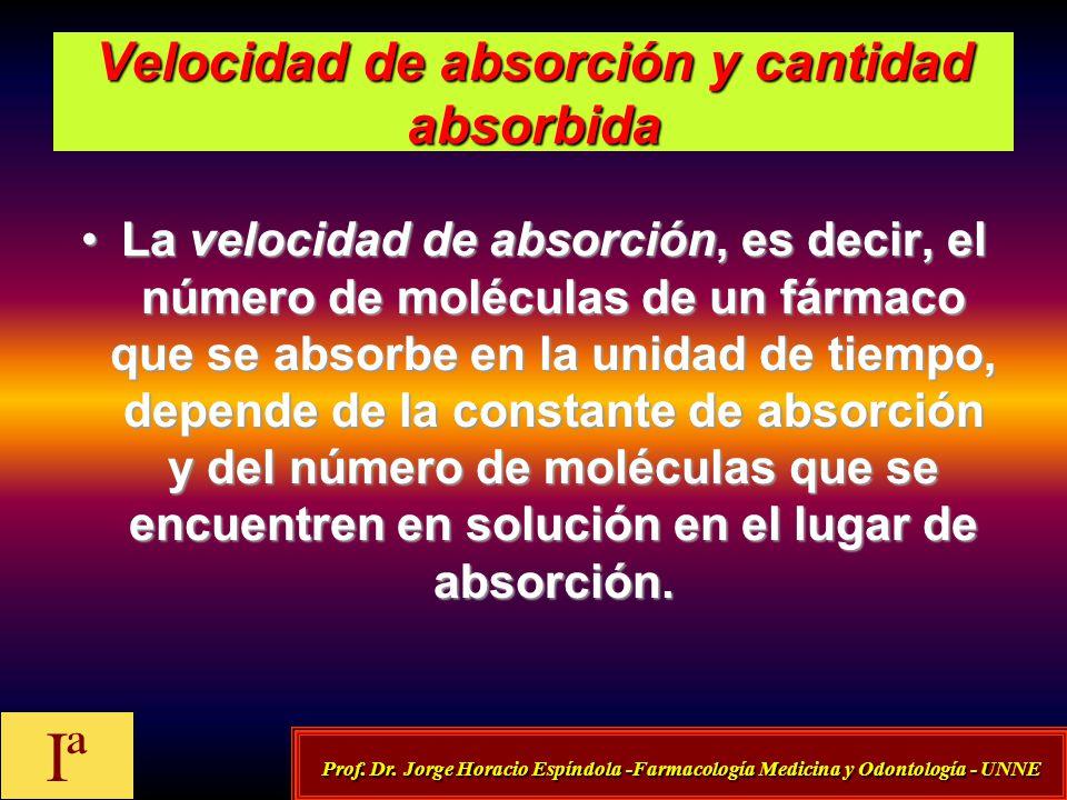 Velocidad de absorción y cantidad absorbida La velocidad de absorción, es decir, el número de moléculas de un fármaco que se absorbe en la unidad de t