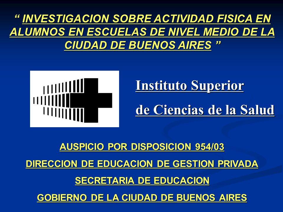 AUSPICIO POR DISPOSICION 954/03 DIRECCION DE EDUCACION DE GESTION PRIVADA SECRETARIA DE EDUCACION GOBIERNO DE LA CIUDAD DE BUENOS AIRES INVESTIGACION