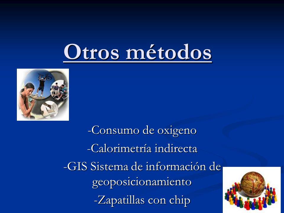 Otros métodos -Consumo de oxigeno -Calorimetría indirecta -GIS Sistema de información de geoposicionamiento -Zapatillas con chip