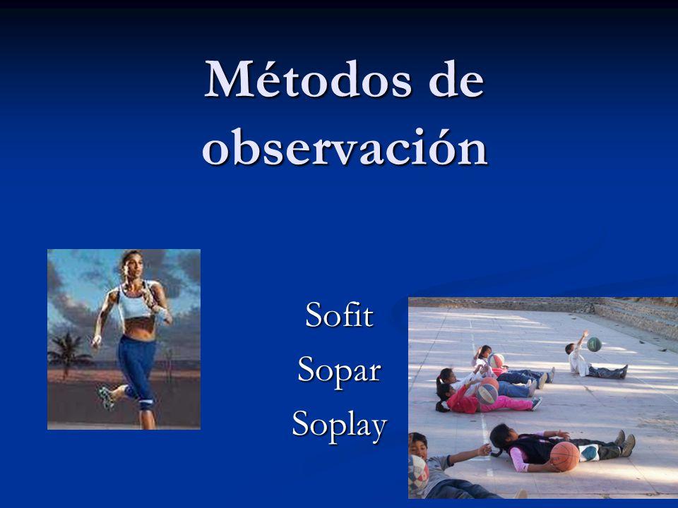 S.O.F.I.T.SYSTEM FOR OBSERVING FITNESS INSTRUCTION TIME McKENZIE, 2002 -INSTRUMENTO OBJETIVO PARA DETERMINAR LA CALIDAD EN CLASES DE EDUCACION FISICA -ES UN SISTEMA DE DECISION DE 3 FASES: FASE A) ACTIVIDAD FISICA REALIZADA POR EL ALUMNO: 1- ACOSTADO, 2- SENTADO, 3- PARADO, 4- CAMINANDO, 5- MUY ACTIVO FASE B) CONTEXTO / CONTENIDO DE LA CLASE: (M) 1- CONTENIDO GENERAL (M) : ORGANIZACIÓN (e.g., ELEGIR EQUIPOS), MANAGEMENT (e.g., EXCURSION, PASAR LISTA), BREAK (e.g., DESCANSO) 2- CONTENIDO DE EDUCACION FISICA (CONOCIMIENTO): (P) * APTITUD FISICA (P) : INFORMACION RELACIONADA A CONCEPTOS DE APTITUD FISICA, INCLUYENDO RESISTENCIA, FUERZA Y FLEXIBILIDAD (K) * CONOCIMIENTO GENERAL (K) : HISTORIA, TECNICA, ESTRATEGIAS, REGLAS