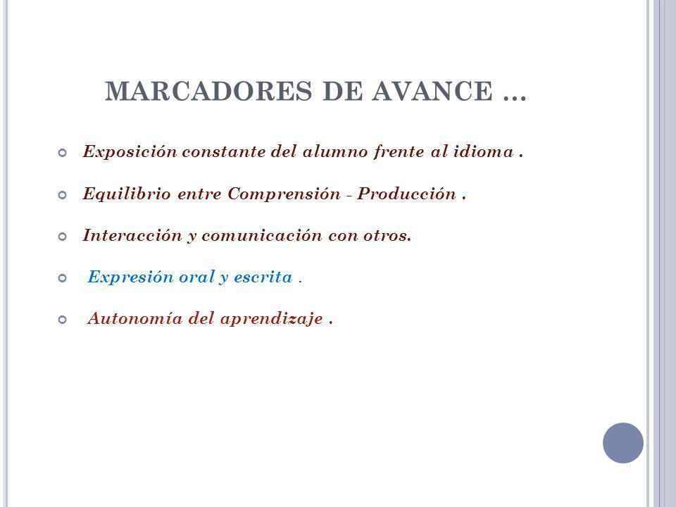 MARCADORES DE AVANCE … Exposición constante del alumno frente al idioma. Equilibrio entre Comprensión - Producción. Interacción y comunicación con otr