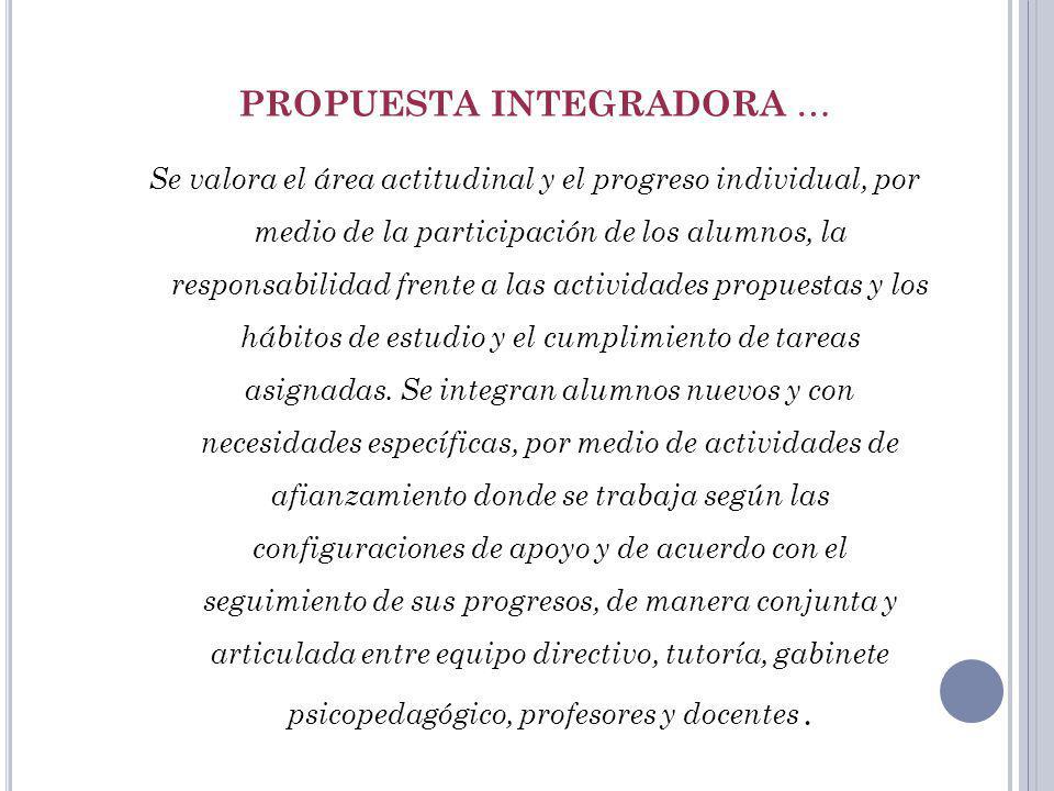 PROPUESTA INTEGRADORA … Se valora el área actitudinal y el progreso individual, por medio de la participación de los alumnos, la responsabilidad frent