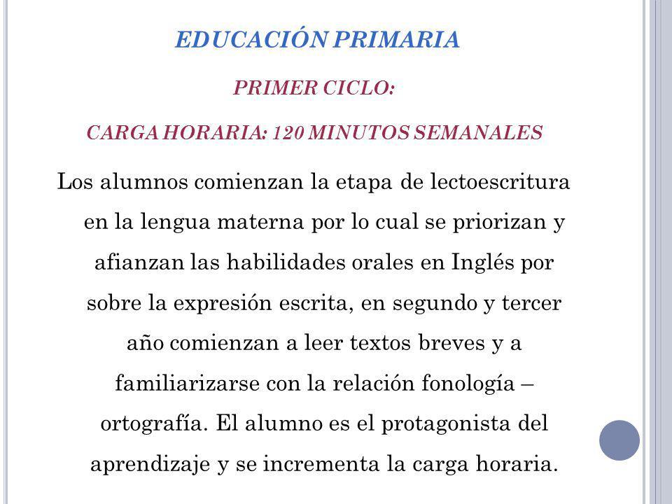 EDUCACIÓN PRIMARIA PRIMER CICLO: CARGA HORARIA: 120 MINUTOS SEMANALES Los alumnos comienzan la etapa de lectoescritura en la lengua materna por lo cua