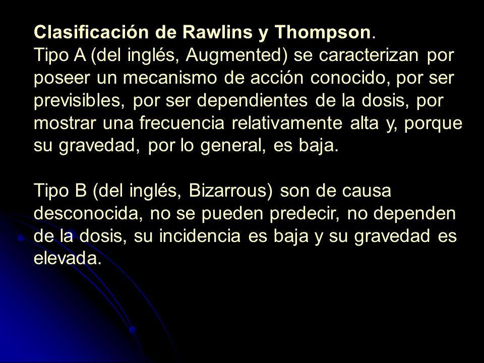 Clasificación de Rawlins y Thompson. Tipo A (del inglés, Augmented) se caracterizan por poseer un mecanismo de acción conocido, por ser previsibles, p
