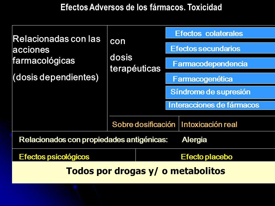 Efectos Adversos de los fármacos. Toxicidad Relacionadas con las acciones farmacológicas (dosis dependientes) con dosis terapéuticas Efectos colateral
