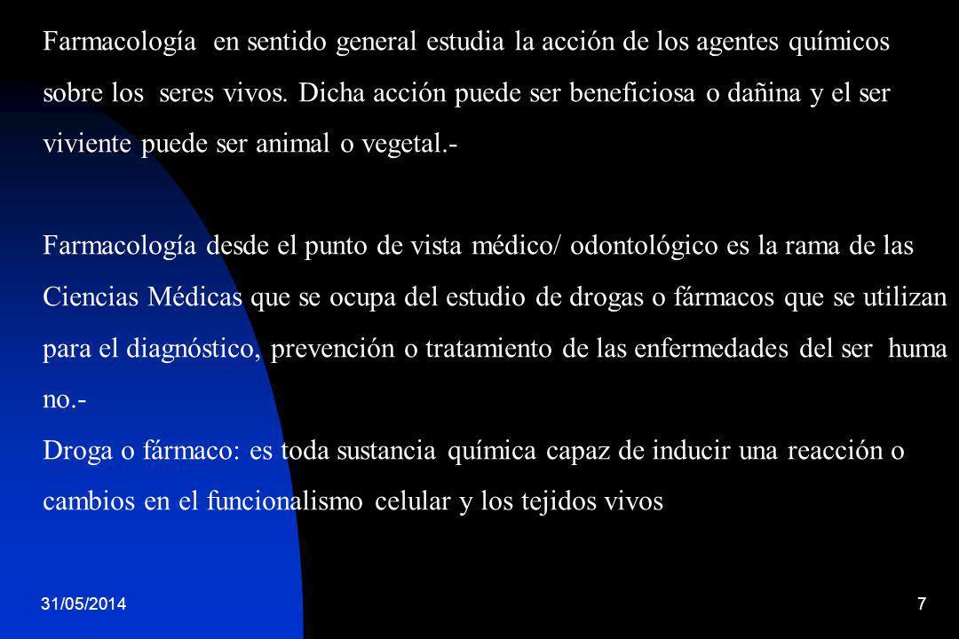 31/05/20147 Farmacología en sentido general estudia la acción de los agentes químicos sobre los seres vivos. Dicha acción puede ser beneficiosa o dañi