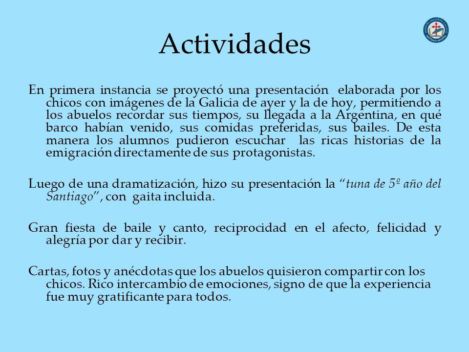 Actividades En primera instancia se proyectó una presentación elaborada por los chicos con imágenes de la Galicia de ayer y la de hoy, permitiendo a l