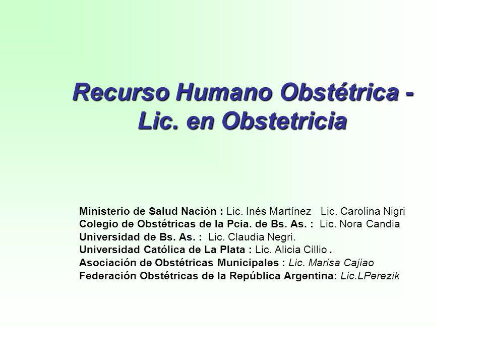 Recurso Humano Obstétrica - Lic. en Obstetricia Ministerio de Salud Nación : Lic. Inés Martínez Lic. Carolina Nigri Colegio de Obstétricas de la Pcia.