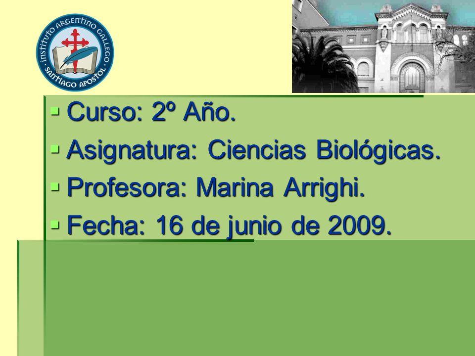 Curso: 2º Año. Asignatura: Ciencias Biológicas. Profesora: Marina Arrighi. Fecha: 16 de junio de 2009.