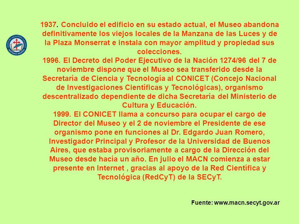 1937. Concluido el edificio en su estado actual, el Museo abandona definitivamente los viejos locales de la Manzana de las Luces y de la Plaza Monserr