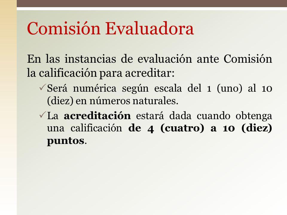 Comisión Evaluadora En las instancias de evaluación ante Comisión la calificación para acreditar: Será numérica según escala del 1 (uno) al 10 (diez)
