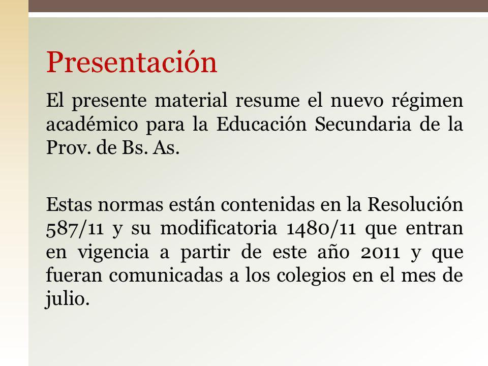Presentación El presente material resume el nuevo régimen académico para la Educación Secundaria de la Prov. de Bs. As. Estas normas están contenidas