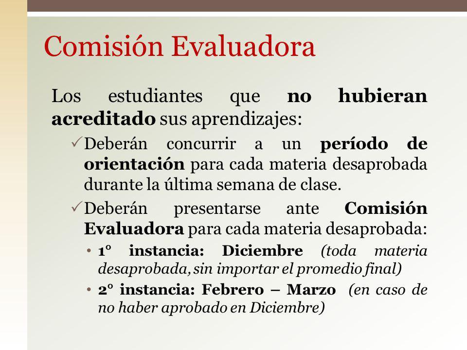 Comisión Evaluadora Los estudiantes que no hubieran acreditado sus aprendizajes: Deberán concurrir a un período de orientación para cada materia desap
