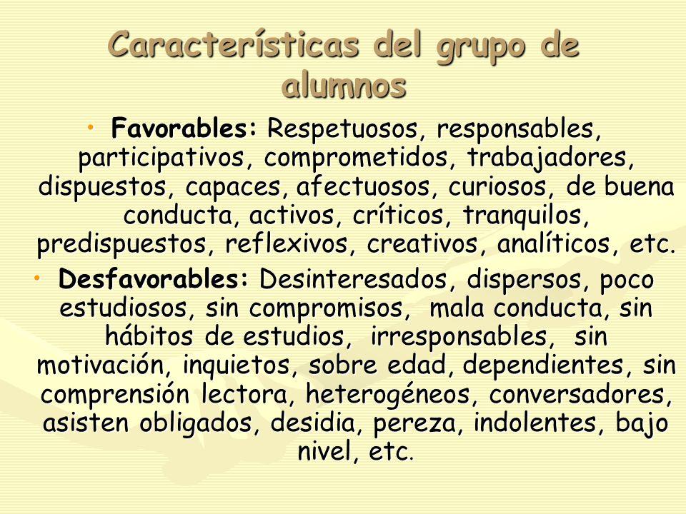 Características del grupo de alumnos Favorables: Respetuosos, responsables, participativos, comprometidos, trabajadores, dispuestos, capaces, afectuosos, curiosos, de buena conducta, activos, críticos, tranquilos, predispuestos, reflexivos, creativos, analíticos, etc.Favorables: Respetuosos, responsables, participativos, comprometidos, trabajadores, dispuestos, capaces, afectuosos, curiosos, de buena conducta, activos, críticos, tranquilos, predispuestos, reflexivos, creativos, analíticos, etc.