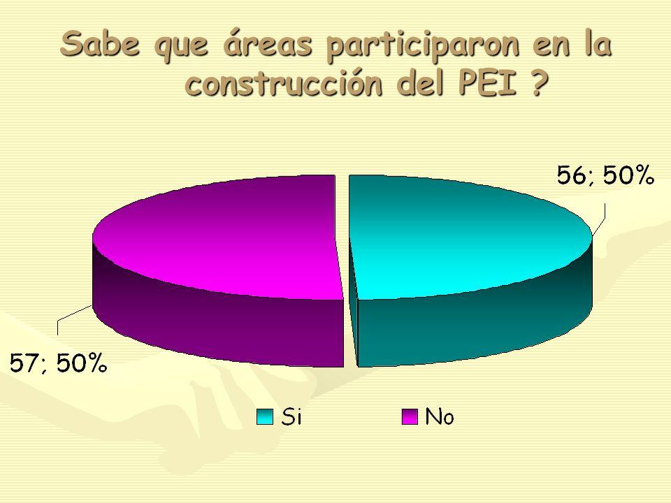 Sabe que áreas participaron en la construcción del PEI ?