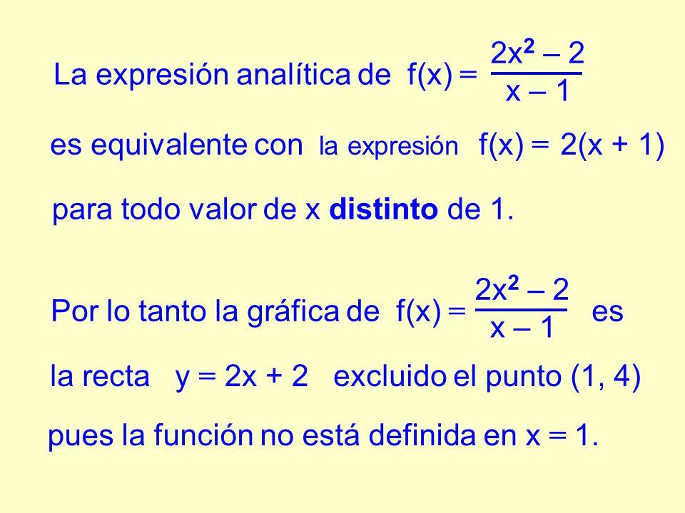 es equivalente con la expresión f(x) = 2(x + 1) La expresión analítica de f(x) = 2x 2 – 2 x – 1 para todo valor de x distinto de 1.