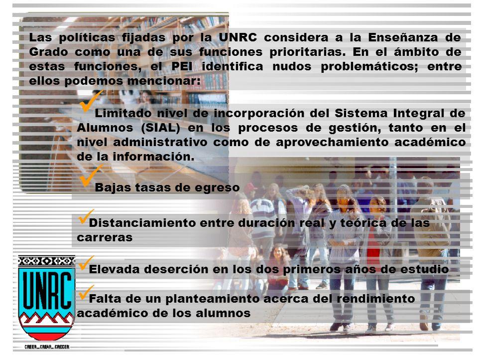 Las políticas fijadas por la UNRC considera a la Enseñanza de Grado como una de sus funciones prioritarias.