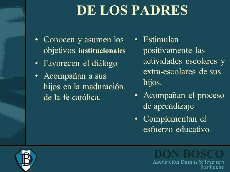 DON BOSCO Asociación Damas Salesianas Bariloche DEL EQUIPO DIRECTIVO Compromiso y conocimiento previo de la espiritualidad salesiana. Animadores y con