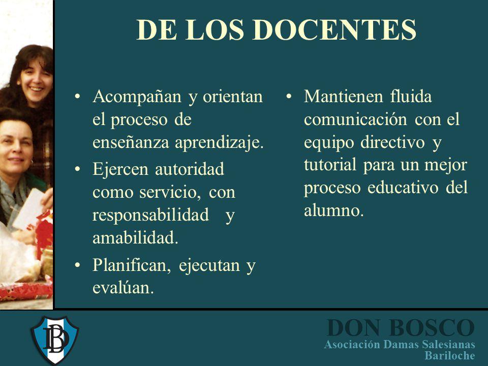 DON BOSCO Asociación Damas Salesianas Bariloche EQUIPO TUTORIAL Contenciòn de los alumnos. Orienta: –Relaciones Interpersonales –Proceso de aprendizaj