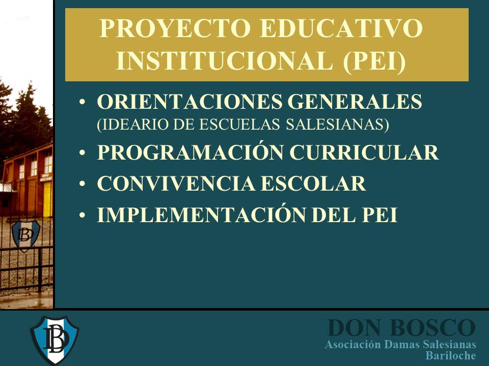 DON BOSCO Asociación Damas Salesianas Bariloche PROYECTO EDUCATIVO PASTORAL INSTITUCIONAL (PEPI) EQUIPO DIRECTIVO COORDINADORES DE PASTORAL: animación