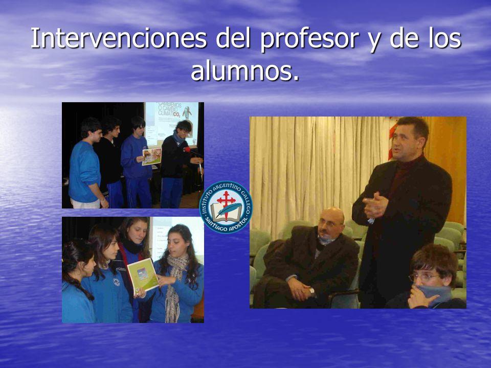 Intervenciones del profesor y de los alumnos.